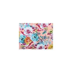 Ткань Джинс стрейч принт, розово-персиковый, мультиколор