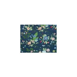 Ткань Джинс стрейч принт, темно-синий, мультиколор