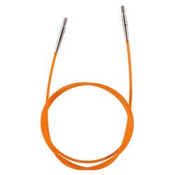 Аксессуары Knit Pro Тросик (заглушки 2шт, ключик) для съемных спиц, длина 56см (готовая длина спиц 80см), оранжевый