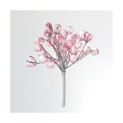 Мини-веточки с акриловыми сердечками (цв. розовый)