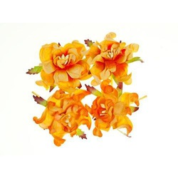 Набор гардений из 4 шт., диам. 5 см (цв. желтый и сливочно-оранжевый)