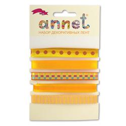 """Annet Набор декоративных лент """"Annet"""", уп. 5 отрезов (цв. 001 желтый)"""