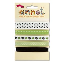 """Annet Набор декоративных лент """"Annet"""", уп. 5 отрезов (цв. 003 салатовый)"""