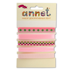"Annet Набор декоративных лент ""Annet"", уп. 5 отрезов (цв. 003 розовый)"