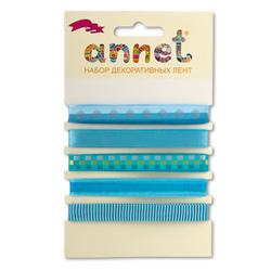 """Annet Набор декоративных лент """"Annet"""", уп. 5 отрезов (цв. 004 голубой)"""