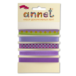 "Annet Набор декоративных лент ""Annet"", уп. 5 отрезов (цв. 002 сиреневый)"