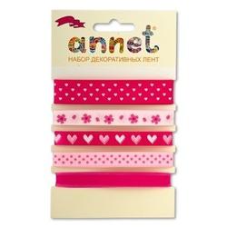 "Annet Набор декоративных лент ""Annet"", уп. 5 отрезов (цв. 002 розовый)"
