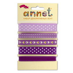 "Annet Набор декоративных лент ""Annet"", уп. 5 отрезов (цв. 001 фиолетовый)"