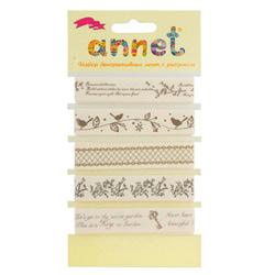 """Annet Набор декоративных лент """"Annet"""" c рисунком, шир. 16 мм, уп. 5 отрезов (цв. 007 """"Весенние мотивы"""")"""