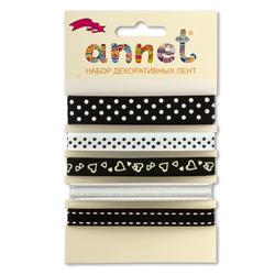 "Annet Набор декоративных лент ""Annet"", уп. 5 отрезов (цв. 004 черный)"