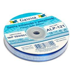 """Gamma Атласная лента с рисунком """"Gamma"""", шир. 12 мм, дл. 3 м (P 094/001 синий/белый)"""