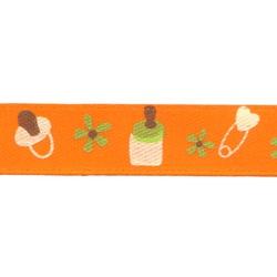"Gamma Атласная лента с рисунком ""Gamma"", шир. 10 мм, дл. 3 м (B15/021 baby/оранжевый)"