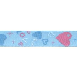 "Gamma Атласная лента с рисунком ""Gamma"", шир. 10 мм, дл. 3 м (H31/129 сердечки/голубой)"