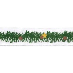 """Gamma Атласная лента с рисунком """"Gamma"""", шир. 12 мм, дл. 3 м (T1/001 еловая ветвь/белый)"""